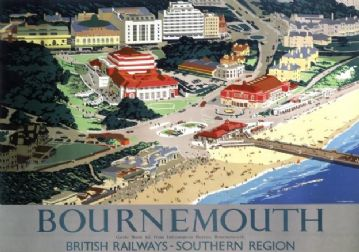 Bournemouth, Dorset. Vintage British Railways Travel Poster by Verney L Danvers